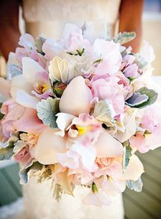 Orchid bridal bouquet in soft ivory and pink <3