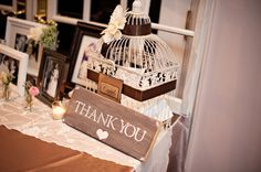 welcome table (not the bird cage)