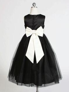Black elegant satin dress with covered buttons.#flowergirldress #blackdress http://www.justuniqueboutique.com/girls-formal-dresses/stunning-satin-flower-girl-dress-with-tulle-skirt.html