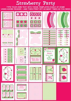 Strawberry Shortcake Party Printable Templates
