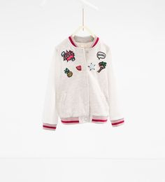 Image 1 of Patch bomber jacket from Zara Toddler Fashion, Kids Fashion, Teen Jackets, Short Niña, Jupe Short, Kawaii Clothes, Girls Tees, Kind Mode, Girly Girl