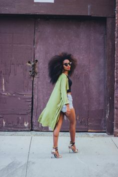 Trench coat // Crop Top from Dresslink // Levi's Shorts // Heels from Chinese Laundry   Fashion By Sunita V.