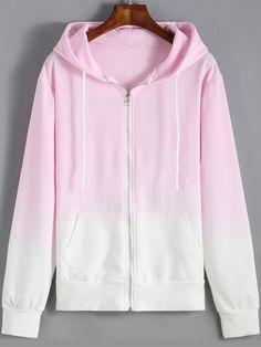 Pink Ombre Hooded Dye Sweatshirt - shein