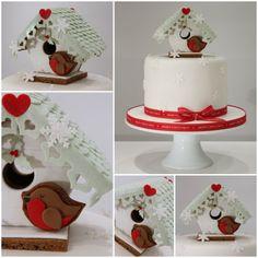 Beach Hut Gingerbread Christmas Cake - by TiersandTiaras @ CakesDecor.com - cake decorating website