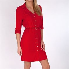 Anne Klein Leo Legacy Utility Dress #VonMaur #AnneKlein #Red #ButtonFront #Belted