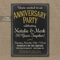 Chalkboard Anniversary Invitations - Printable Gold Cream Gray Chalkboard Invitation 10th 15th 25th 30th 40th 50th 60th 20th Invites CHK