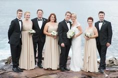 White Runway gorgeous bride Kiki Nizette and her bridesmaids wearing the Lucia Embellished Dress in Champagne.