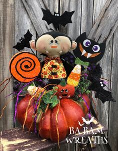 Excited to share this item from my shop: Halloween Centerpiece, Halloween Decor, Fall Centerpiece, Fall Decor, Pumpkin Centerpiece Halloween Wood Crafts, Halloween Mesh Wreaths, Holiday Wreaths, Holiday Crafts, Halloween Decorations, Halloween Centerpieces, Fall Crafts, Holiday Decor, Teen Halloween Party