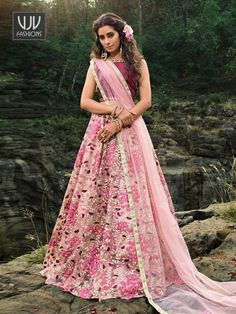 Rs4,650.00 Pink Lehenga, Lehenga Choli, Party Wear Lehenga, Silk Material, Looking Stunning, Magenta, Floral, How To Wear, Flowers
