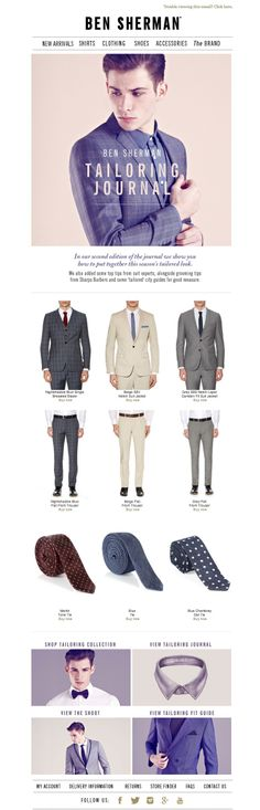 #newsletter Ben Sherman 04.2014 Shop New Season Tailoring + Read Our Tailoring Journal Online