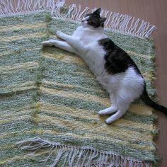 tkaný kobereček - hadrák - zeleno žlutý