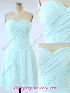 Custom Made Tiffany Blue Sweetheart Chiffon Bridal / Bridesmaid Dress / Party Dress