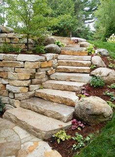 47 Captivating Backyard Garden Landscaping Ideas On A Budget -   Garden landscaping is a great way to update a backyard. Garden landscaping is becoming a popular way to get the most out of gardens--visually a. Amazing Gardens, Beautiful Gardens, Jardin Decor, Garden Stairs, Garden Stepping Stones, Front Yard Landscaping, Landscaping Ideas, Walkway Ideas, Path Ideas