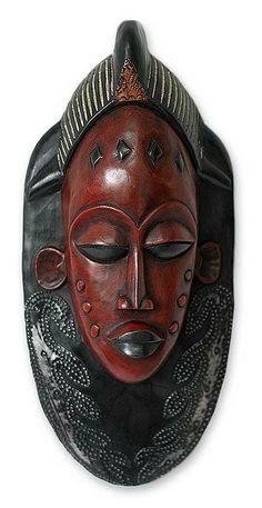 Akan wood mask, 'Supremacy' by NOVICA