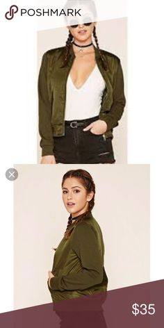 Olive Green Bomber Jacket Very chic! Looks great dressed up and dressed down! I would wear with a dress or skirt!  Forever 21 Jackets & Coats