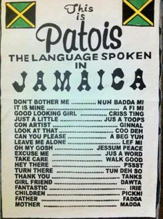 lol. A Jamaican Patois cheat-sheet.