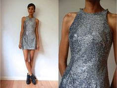 Vtg Silver Sequined Sleeveless Mini Disco Dress by LuluTresors, $34.99