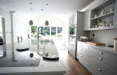 Country style In-Frame Painted Kitchen in French Grey with Island. German Kitchen, French Kitchen, Bespoke Kitchens, Grey Kitchens, Kitchen Paint, Kitchen Design, French Grey, Painting Frames, Country Style
