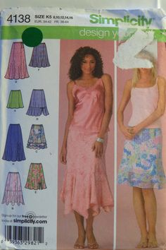 Simplicity 4138 Misess'/Miss Petite Design Your Own Skirt with Length Variations