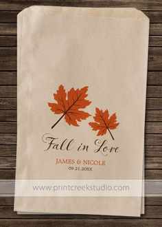 Personalized Fall Wedding Favor Bags. Fall in Love Orange Autumn Leaves. Perfect for a fall themed wedding to use as candy or popcorn favor bags.