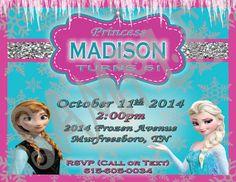 Personalized Frozen Princess Birthday Invitations by BKreationz