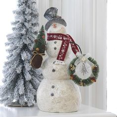 White Snowman with Wreath and Christmas Tree