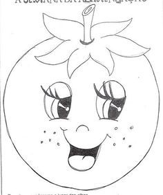 Fruit Coloring Pages, Fall Coloring Pages, Coloring Books, Decoration Creche, Fruit Crafts, Cartoon Sketches, Applique Patterns, Felt Patterns, Hand Embroidery Designs