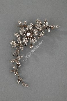 cool Broche 'Trembleuse' en or et argent, diamants - Vers 1890