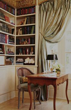 Love the rounded provincial chair. new orleans interior decorating Casa Kardashian, Home Decoracion, Home Libraries, Interior Decorating, Interior Design, Classic Interior, French Country Decorating, Home Office, Ikea Office