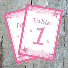 Destination Wedding Starfish Table Cards, Up to 20 Tables, Printable PDF's