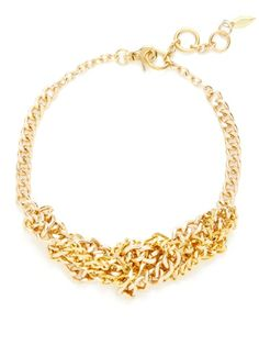 Irina Bib Necklace / Soo Ihn Kim Jewelry / Rs.9939  It's an interesting take on the chainlink trend :)  18K yellow gold-plated brass interwoven chain link bib necklace