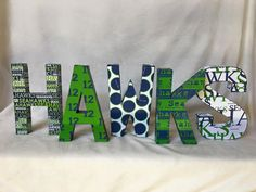 Seahawks Block letters by AllTheLovelyLetters on Etsy