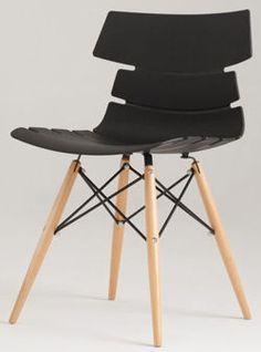 Nowoczesne krzesło NORTH:      Styl skandynawski i inspiracja projektem krzesła DSW. Oryginalna forma i kształt siedziska tego nowoczesnego krzesła uzupełniona została podstawą z drewna.