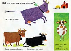Cow illustrations from Adventures with Color (1963), illustrated by J.P. Miller
