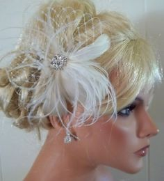 BRIDAL FASCINATOR, feathers french net rhinestone jewel - feathered fascinator wedding hair clip, womens, $38.00