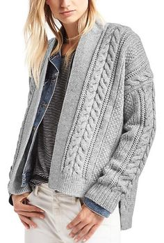 hi lo cable knit cardigan