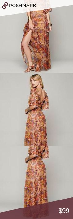 Free People Sheer Floral Maxi Dress Only worn a few times, in great condition. Slip NOT included! Any nude or neutral slip would work nicely underneath. Free People Dresses Maxi