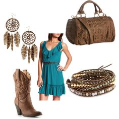 country chic, created by jwp0709.polyvore.com- Just bought this dress yesterday and playing with ways to wear it :)