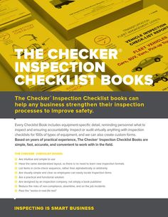 2014 the checker inspection books We have Inspection Checklist books for of different types of equipment, vehicles & machines. Vehicles, Books, Libros, Book, Car, Book Illustrations, Libri, Vehicle, Tools