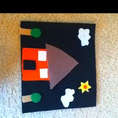 Toddler School Tray: Felt house pieces to use on felt board