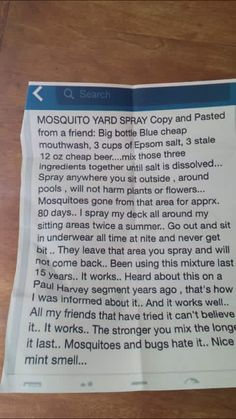 Mosquito repellent spray for deck/patio