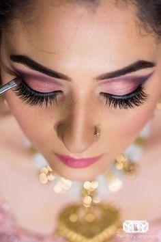 Stunning pink and grey eye makeup on a bride to be | WedMeGood| #wedmegood