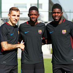 Digne Dembele Umtiti FC Barcelona French Connection FCB Neymar, Messi, Hot Cheerleaders, Fc Barcelona, World Cup, Cheerleading, Chef Jackets, First Love, Coaching