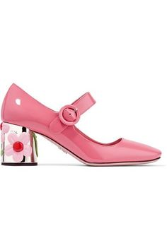 Prada's pumps are crafted from petal-pink patent-leather - the color of the season. This glossy pair has a classic Mary Jane silhouette and is set on a flower-embellished cylindrical heel. The square toe adds to their retro appeal.