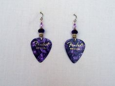 Fender Guitar Pick Earrings in Purple and Silver by JazziSparklies