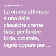 La crema al limone è una delle classiche creme base per farcire torte, crostate, bignè oppure per gustarla così com'è assieme a dei semplici biscottini.