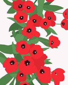 jorey hurley Wildly Marimekko-ish tulips on Jackson Street. Textures Patterns, Print Patterns, Fabric Patterns, Botanical Prints, Floral Prints, Fridah Kahlo, Marimekko Fabric, Stoff Design, Motif Floral