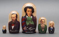Russian writers Pushkin, Dostoevsky, Tolstoy matryoshka babushka russian nesting doll 5 pc Free Shipping plus free gift!