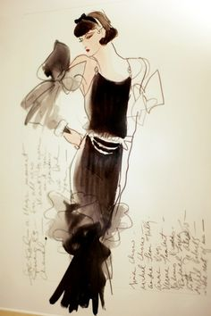 Illustration by Karl Lagerfeld for Chanel hanging in her apartment at 31 rue Cambon Mode Vintage Illustration, Illustration Sketches, Fashion Illustrations, Fashion Sketches, Fashion Drawings, Drawing Sketches, Sketching, Chanel Fashion, Fashion Art