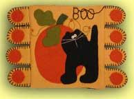 Black Cat & Pumpkin Penny Rug